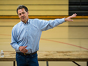 17 MAY 2019 - MESKWAKI, IOWA: Governor STEVE BULLOCK (D-MT) campaigns for presidency on the Meskwaki settlement, a Native American community in Iowa. Gov. Bullock joined a crowded field of Democrats vying to be the party's Presidential nominee in 2020. Iowa traditionally hosts the the first election event of the presidential election cycle. The Iowa Caucuses will be on Feb. 3, 2020.                      PHOTO BY JACK KURTZ