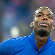 PARIS, FRANCE - March 25:  Paul Pogba #6 of France lines up with the French team during the National Anthems before the France V Iceland, 2020 European Championship Qualifying, Group Stage at  Stade de France on March 25th 2019 in Paris, France (Photo by Tim Clayton/Corbis via Getty Images)