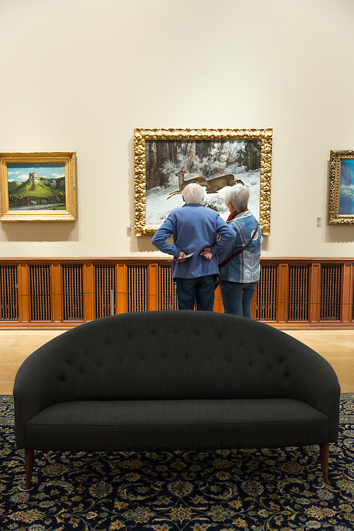 Viewing Gustave Courbet  'Deer Hunting in the Franche-Comte, The Ruse' 1866 in French Gallery, Ordrupgaard Art Museum in Denmark