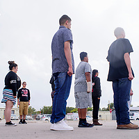 First year cadets line up for drills during the Grants High School Marine Corps ROTC training at Grants High School Wednesday.