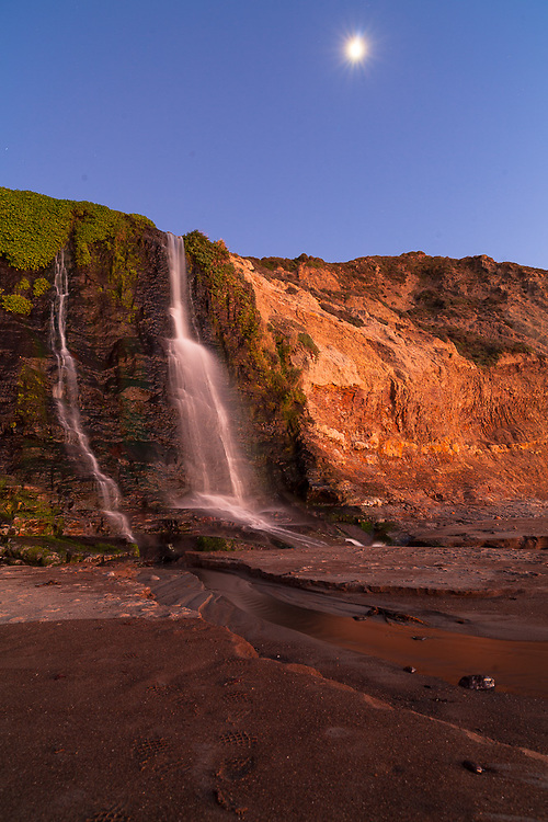 Alamere Falls crashes to the beach around sunset at Point Reyes.