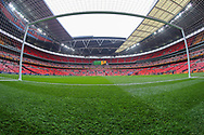 A general view inside Wembley Stadium during the The FA Cup semi-final match between Watford and Wolverhampton Wanderers at Wembley Stadium, London, England on 7 April 2019.