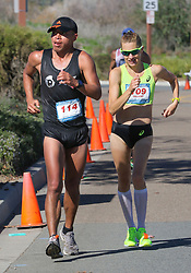 January 26, 2019 - Oceanside, California, United States - January 26, 2019, Santee, California_USA_2019 USATF 50km Race Walk Championships_| Winners of the international races walk side by side, though David Velasquez of Ecuador, at left, was a lap ahead of Claire Tallent of Australia, at right, in this view late in the race. |_Photo Credit: Photo by Charlie Neuman (Credit Image: © Charlie Neuman/ZUMA Wire)