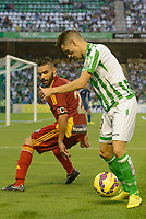 Corcoles (L) and Alex (R) during the match between Real Betis and Recreativo de Huelva day 10 of the spanish Adelante League 2014-2015 014-2015 played at the Benito Villamarin stadium of Seville. (PHOTO: CARLOS BOUZA / BOUZA PRESS / ALTER PHOTOS)