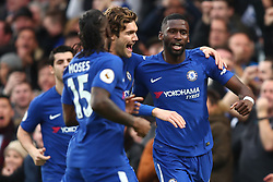 30 December 2017 -  Premier League - Chelsea v Stoke City - Antonio Rudiger of Chelsea celebrates scoring the opening goal with team mates - Photo: Marc Atkins/Offside