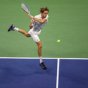 2019 US Open Tennis Tournament- Day Twelve. Danill Medvedev of Russia in action against Grigor Dimitrov of Bulgaria in the Men's Singles Semi-Finals match on Arthur Ashe Stadium during the 2019 US Open Tennis Tournament at the USTA Billie Jean King National Tennis Center on September 6th, 2019 in Flushing, Queens, New York City.  (Photo by Tim Clayton/Corbis via Getty Images)