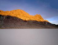 "CADDV_024 - Sunrise on Ubehebe Peak above dry lakebed or playa called  ""Racetrack"", Racetrack Valley, Death Valley National Park, California, USA"