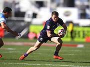 Scotland player Max McFarland looks to avoid a tackle in the game Argentina vs Scotland during the USA Sevens Rugby Series at Sam Boyd Stadium, Las Vegas, USA on 2 March 2018. Picture by Ian  Muir.