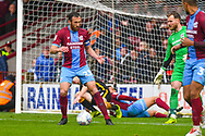 Rory McArdle of Scunthorpe United (23) in action during the EFL Sky Bet League 1 match between Scunthorpe United and Bradford City at Glanford Park, Scunthorpe, England on 27 April 2019.