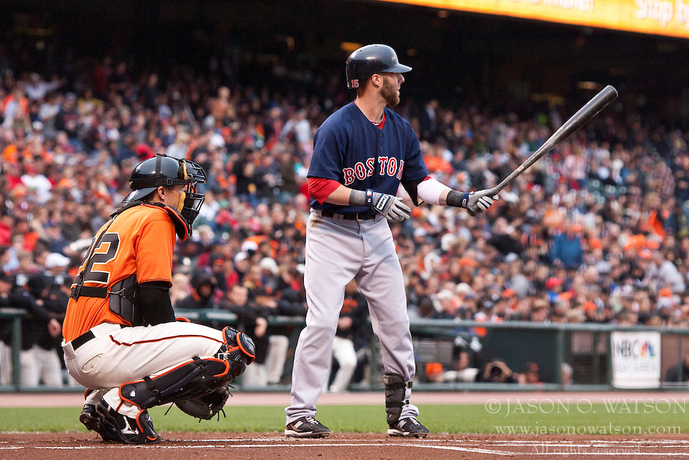 June 25, 2010; San Francisco, CA, USA;  Boston Red Sox second baseman Dustin Pedroia (15) at bat against the San Francisco Giants during the first inning at AT&T Park.  San Francisco defeated Boston 5-4.