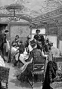 Dining car on the Orient Express.   Wood engraving published Paris, c1885.