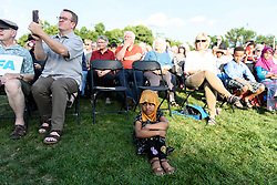August 8, 2017 - Bloomington, MN, USA - A young girl listens during a support rally at the Dar Al Farooq Islamic Center in Bloomington, Minn., on Tuesday, Aug. 8, 2017. More than a thousand people attended a community-wide show of support following an attack on the center early Saturday morning. (Credit Image: © Aaron Lavinsky/TNS via ZUMA Wire)