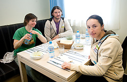 Andreja Mali, Tomas Kos and Dijana Ravnikar  at lunch after training session of Slovenian biathlon team before new season 2009/2010,  on November 16, 2009, in Pokljuka, Slovenia.   (Photo by Vid Ponikvar / Sportida)