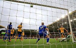 Wolverhampton Wanderers' Leander Dendoncker (3rd right) blazes a shot over the bar during the Premier League match at Molineux, Wolverhampton.