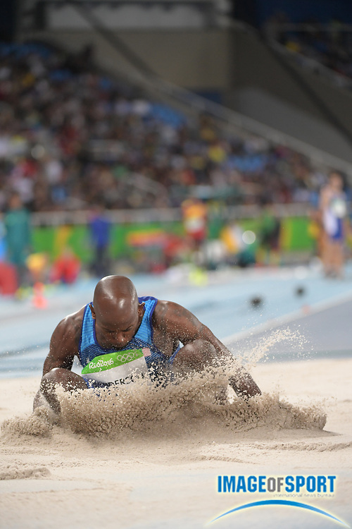 Aug 12, 2016; Rio de Janeiro, Brazil; Jeff Henderson (USA) competes in the men's long jump at Estadio Olimpico Joao Havelange in the Rio 2016 Summer Olympic Games.