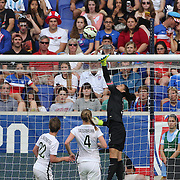U.S. Women's National Team goalkeeper Hope Solo tips a shot over the bar during the U.S. Women's National Team Vs Korean Republic, International Soccer Friendly in preparation for the FIFA Women's World Cup Canada 2015. Red Bull Arena, Harrison, New Jersey. USA. 30th May 2015. Photo Tim Clayton