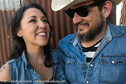 Karen and Carey Brobeck at the Giddy Up Vintage Chopper Show at the River Road Ice House, New Breunfils, TX March 28, 2015, photographed by Michael Lichter. ©2015 Michael Lichter