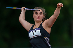 Imogen Beard in action on the javelin throw section during the Dutch Athletics Championships (NK) on the athletics track Maarschalkerweerd on 30 August 2020 in Utrecht.