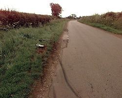 Skid marks on a country lane near Malmesbury, Gloucs, where Camilla Parker Bowles was involved in a head-on collision with another motorist last night.  The 49-year-old, who passed a routine breath test, was treated for a severe blow to the head and a twisted wrist at Highgrove - the Prince of Wales' country home - by a local GP. PA. SEE PA STORY ACCIDENT Camilla.
