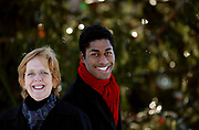"""Arts12/6/05 Nativity<br /> ML0226E<br /> Sarah Peterson, director, and Kenyon Adams tenor with Long Wharf Theater's production of """"Black Nativity"""". Photographed on the New Haven Green. Photo by Mara Lavitt"""
