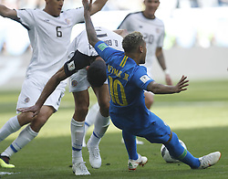 SAINT PETERSBURG, June 22, 2018  Neymar (R bottom) of Brazil falls down during the 2018 FIFA World Cup Group E match between Brazil and Costa Rica in Saint Petersburg, Russia, June 22, 2018. (Credit Image: © Cao Can/Xinhua via ZUMA Wire)