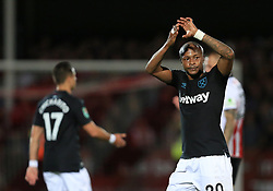 Andre Ayew of West Ham United - Mandatory by-line: Paul Roberts/JMP - 23/08/2017 - FOOTBALL - LCI Rail Stadium - Cheltenham, England - Cheltenham Town v West Ham United - Carabao Cup