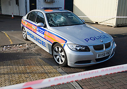 © London News Pictures. 19/11/2011. A police car which was attacked during the pursuit of a 32 year-old man. The scene of an incident on Kingsbury Road, North West London in which four police officers where stabbed early this morning (19/11/2011). A man attacked the police officers with a knife he grabbed from the butchers shop after he had been chased by the police. Photo credit : Ben Cawthra/LNP