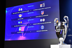 NYON, SWITZERLAND - Friday, July 10, 2020: The completed draw shown on a screen with the European Cup trophy during the UEFA Champions League and UEFA Europa League 2019/20 draws for the Quarter-final, Semi-final and Final at the UEFA headquarters, The House of European Football. (Photo Handout/UEFA)