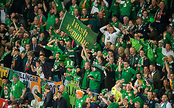 CARDIFF, WALES - Monday, October 9, 2017: Republic of Ireland fans react at the final whistle during the 2018 FIFA World Cup Qualifying Group D match between Wales and Republic of Ireland at the Cardiff City Stadium. (Pic by Peter Powell/Propaganda)