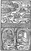 Lead smelting.   From Agricola 'De re metallica', Basel 1556. Woodcut
