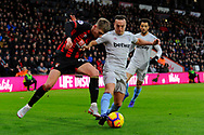 David Brooks (20) of AFC Bournemouth battles for possession with Mark Noble (16) of West Ham United during the Premier League match between Bournemouth and West Ham United at the Vitality Stadium, Bournemouth, England on 19 January 2019.