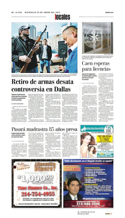 The Dallas Morning News -Al Dia, Local, 6A, January 23, 2013.