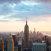 Skyline view of towards Lower Manhattan including Empire State Building
