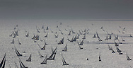 The 2013 Rolex Fastnet race start. <br /> <br /> Pictures off the fleet as they race down the Solent and past the Needles <br /> <br /> Credit: Lloyd Images