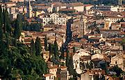 View from the hilltop sanctuary looking southeast towards Via Santa Chiara and via Giardino Giusti in Verona, Veneto, Italy