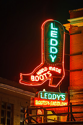 Neon sign, M.L Leddy's Boots, Fort Worth Stockyards National Historic District, Fort Worth, Texas, USA.
