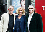 """John Crum Lish, GIAF with Orlaith McBride Director Art Council  and Paul Fahy GIAF at the World Premiere of the """"Luck Just Kissed you Hello""""by Amy Conroy in the Mick Lally theatre (Druid) on the opening night of Galway international Arts Festival. Photo:andrew Downes xposure"""