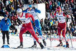 March 16, 2019 - Falun, SVERIGE - 190316 Karl Johan Westberg of Sweden and Martin Bergström of Sweden and Alexander Bulshunov of Russia during the FIS Cross-Country World Cup on march 16, 2019 in Falun  (Credit Image: © Daniel Eriksson/Bildbyran via ZUMA Press)