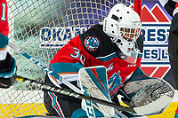KELOWNA, BC - DECEMBER 18: Roman Basran #30 of the Kelowna Rockets defends the net against the Vancouver Giants at Prospera Place on December 18, 2019 in Kelowna, Canada. (Photo by Marissa Baecker/Shoot the Breeze)