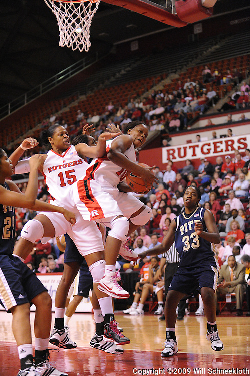Feb 10, 2009; Piscataway, NJ, USA; Rutgers guard Epiphanny Prince (10) comes down with an offensive rebound during the first half of Rutgers game against #19 Pittsburgh in Women's College Basketball at the Louis Brown Athletic Center.