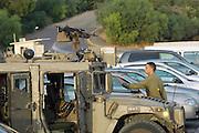 Israel, Rosh Hanikra, An Israeli army patrol vehicle on the Lebanese border