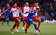 Riyad Mahrez of Leicester city tries to break past Grzegorz Krychowiak of West Bromwich Albion .Premier league match, Leicester City v West Bromwich Albion at the King Power Stadium in Leicester, Leicestershire on Monday 16th October 2017.<br /> pic by Bradley Collyer, Andrew Orchard sports photography.