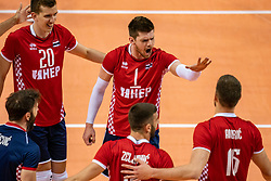 Kruno Nikacevic of Croatia, Tsimafei Zhukouski of Croatia in action during the CEV Eurovolley 2021 Qualifiers between Sweden and Croatia at Topsporthall Omnisport on May 15, 2021 in Apeldoorn, Netherlands