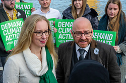 Pictured: Patrick Harvie and Lorna Slater<br /><br />The party's co-leaders, Patrick Harvie and Lorna Slater, were joined  by candidates as they gathered at the iconic Forth Bridge to launch their general election campaign, demanding climate action.<br /><br />Ger Harley | EEm 8 November 2019