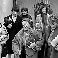 La journee de la femme a l'Elysee a Paris le 8 mars 1983 : Colette Audry, Simone de Beauvoir, Yvette  Roudy, 2e plan : Madeleine Reberioux et Segolene Royal, diplomee de l'ENA et conseillere technique au secretariat general de la presidence de la Republique  Neg:CX15429 --- The day of the woman at the Elysee palace in Paris on march 8, 1983 : Colette Audry, Simone de Beauvoir, Yvette  Roudy, Madeleine Reberioux and Segolene Royal<br /> <br /> Copyright Rue Des Archives/Writer Pictures<br /> <br /> NO FRANCE, NO AGENCY SALES