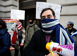 UK ENGLAND LONDON 11DEC10 - A masked supporter of Wikileaks stages a demonstration demanding the release of its founder Julian Assange in central London...Assange was arrested in London by the Metropolitan Police Service on 7 December by appointment, after a voluntary meeting with the police. Later that day, Assange was refused bail and held in custody on remand...jre/Photo by Jiri Rezac..© Jiri Rezac 2010