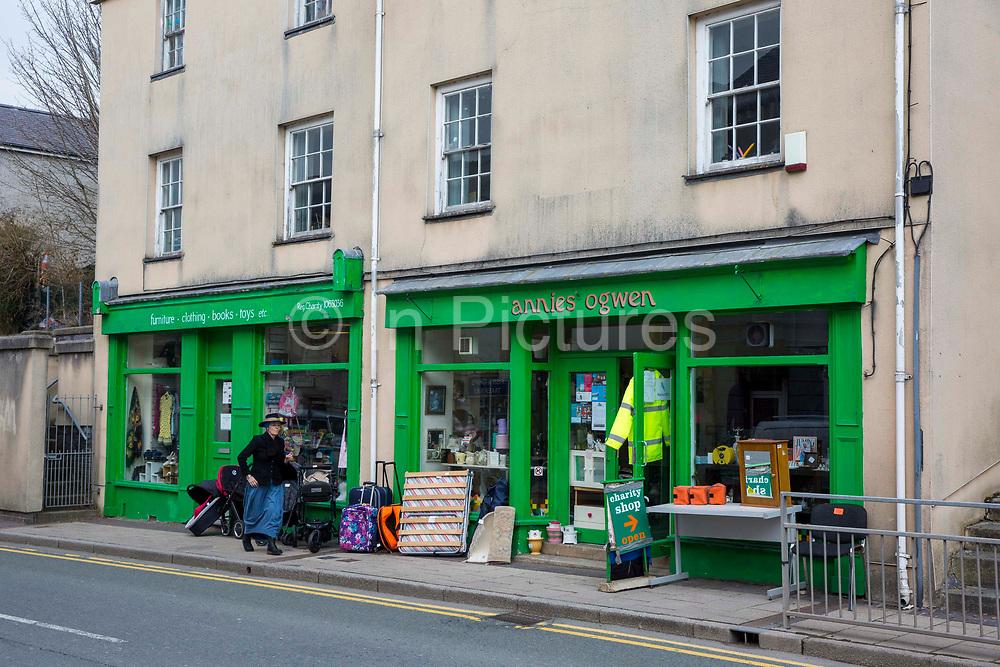 The front of Annies' Ogwen charity shop on 13 High Street, Bethesda, Gwynedd, Wales.