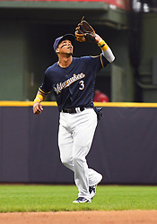 May 8, 2018 - Milwaukee, WI, U.S. - MILWAUKEE, WI - MAY 08: Milwaukee Brewers Shortstop Orlando Arcia (3) tracks a fly ball during a MLB game between the Milwaukee Brewers and Cleveland Indians on May 8, 2018 at Miller Park in Milwaukee, WI. The Brewers defeated the Indians 3-2.(Photo by Nick Wosika/Icon Sportswire) (Credit Image: © Nick Wosika/Icon SMI via ZUMA Press)