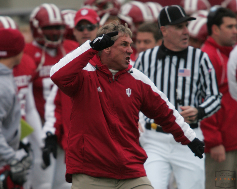 08 November 2008: Indiana head coach Bill Lynch as the Indiana Hoosiers played the Wisconsin Badgers in a college football game in Bloomington, Ind....