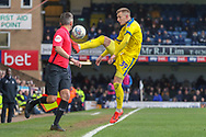 AFC Wimbledon striker Joe Pigott (39) trying to keep the ball in touch during the EFL Sky Bet League 1 match between Southend United and AFC Wimbledon at Roots Hall, Southend, England on 16 March 2019.